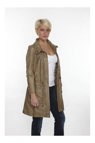 Womens Leather Coat in Taupe:DW